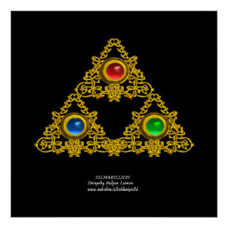 ELFIC TALISMAN / GOLD TRIANGLE WITH GEMSTONES POSTER