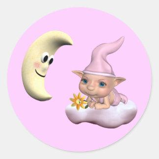 elfin baby girl 1 classic round sticker
