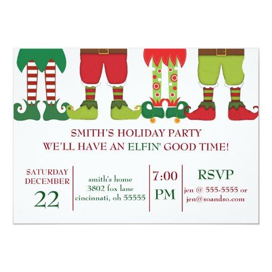 Elfin Holiday Party Invitation Zazzlecom