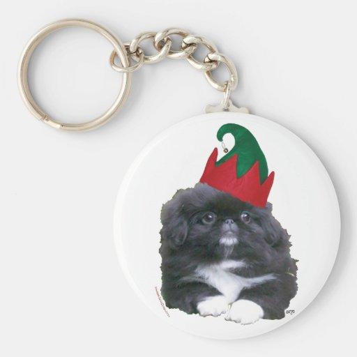 Elfin Pekingese Puppy Christmas Basic Round Button Keychain