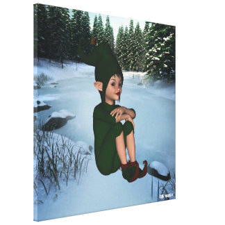 ElfMagic Christmas Snow Elf Wrapped Canvas
