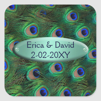 elgant turquoise peacock envelope seal square sticker