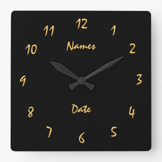 Elgant Wedding Anniversary Customized Square Wall Clock