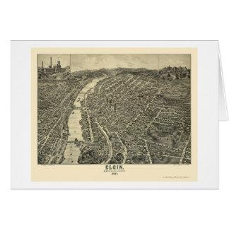 Elgin, IL Panoramic Map - 1880 Card