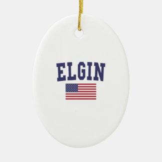 Elgin US Flag Ceramic Ornament