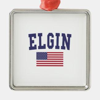 Elgin US Flag Metal Ornament