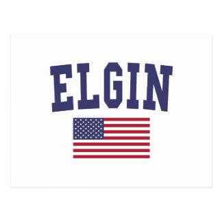 Elgin US Flag Postcard
