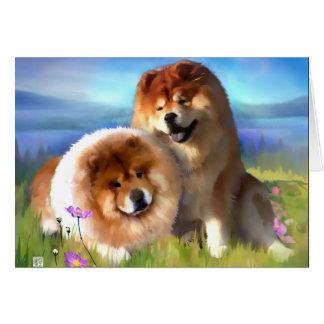 ELI AND MAIYA heARTdog chow Greeting Card