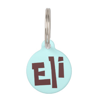 Eli Dark Brown on Light Blue Puppy Dog Name Tag Pet Name Tags