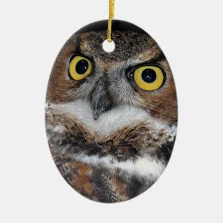 Eli - Great Horned Owl III Ceramic Ornament