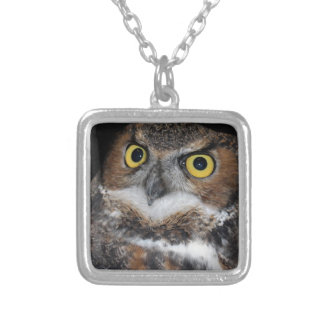 Eli - Great Horned Owl III Silver Plated Necklace