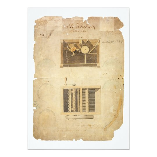 Eli Whitney's Patent for the Cotton Gin in 1794 Card