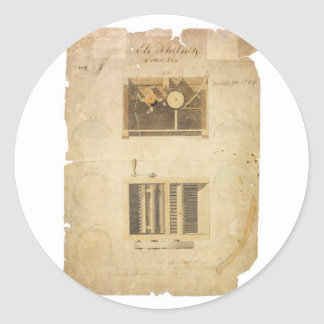 Eli Whitney's Patent for the Cotton Gin in 1794 Classic Round Sticker