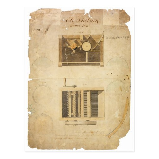 Eli Whitney's Patent for the Cotton Gin in 1794 Postcard