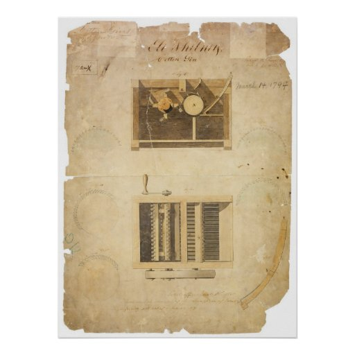 Eli Whitney's Patent for the Cotton Gin in 1794 Poster