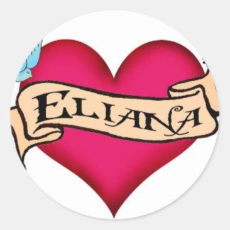 Eliana - tatuaje de encargo del corazón pegatinas redondas