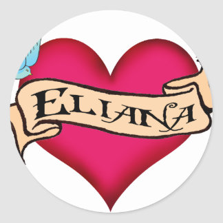 Eliana - tatuaje de encargo del corazón pegatina redonda