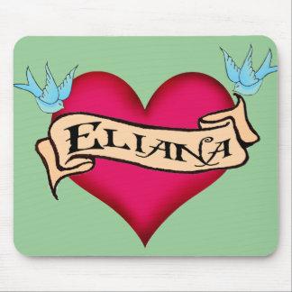 Eliana - tatuaje de encargo del corazón alfombrilla de raton