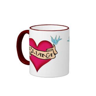 Eliana - tatuaje de encargo del corazón tazas de café