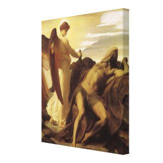 Elías en desierto por Leighton, arte del Victorian Lona Envuelta Para Galerías