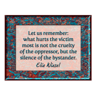 Elie Wiesel Bystander Quote Wall Plaque Postcard
