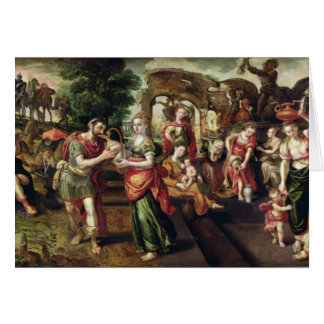 Eliezer and Rebecca at the Well, 1562 Card