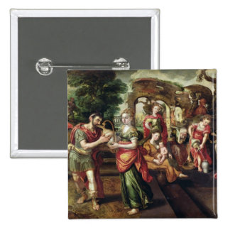Eliezer and Rebecca at the Well, 1562 Pinback Button
