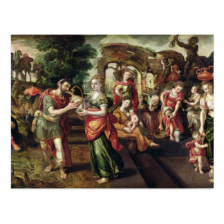 Eliezer and Rebecca at the Well, 1562 Postcard