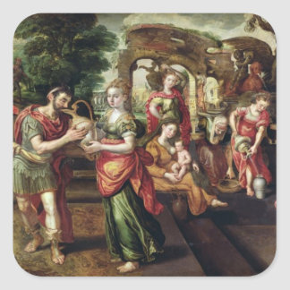 Eliezer and Rebecca at the Well, 1562 Square Sticker