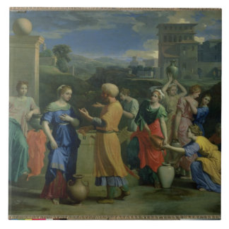 Eliezer and Rebecca at the Well, 1648 (oil on canv Ceramic Tile
