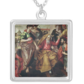 Eliezer Asking for Rebecca to Marry Isaac, 1562 Silver Plated Necklace