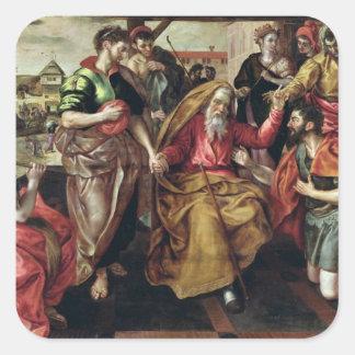 Eliezer que pide Rebecca casar a Isaac, 1562 Pegatina Cuadrada