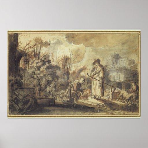 Eliezer y Rebecca en el pozo Póster