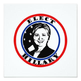 Elija a Hillary Clinton Invitación 13,3 Cm X 13,3cm