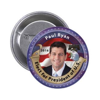 Elija a Paul Ryan para el presidente 2016 Pin Redondo De 2 Pulgadas