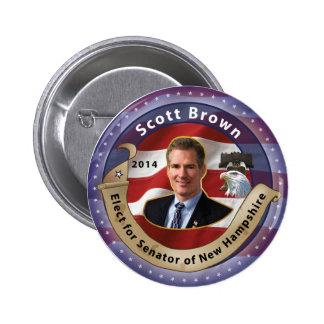 Elija a Scott Brown para el senador de New Hampshi Pin Redondo 5 Cm