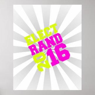 Elija el diseño de neón del rand 2016 póster