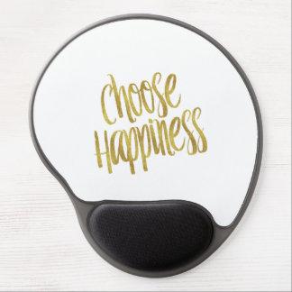 Elija hoja de oro de la cita de la felicidad la alfombrilla de ratón con gel