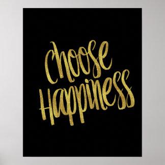 Elija hoja de oro de la cita de la felicidad la póster