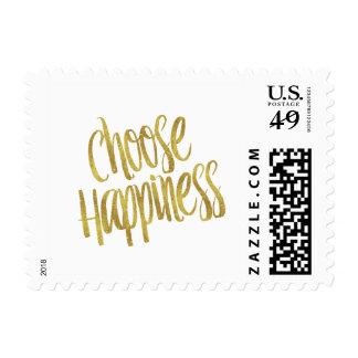 Elija hoja de oro de la cita de la felicidad la sello