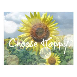 Elija la cita feliz con los girasoles postal