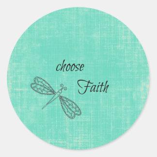 Elija la fe inspirada pegatina redonda