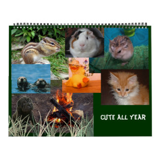 Elija la fecha de inicio linda todo el año calendario de pared