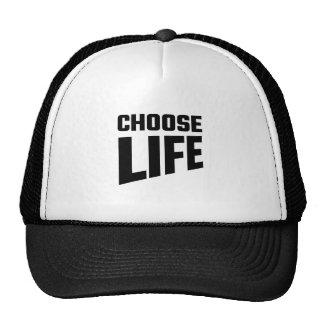 Elija la vida gorros bordados