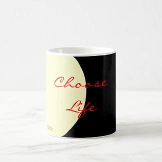 Elija la vida taza básica blanca