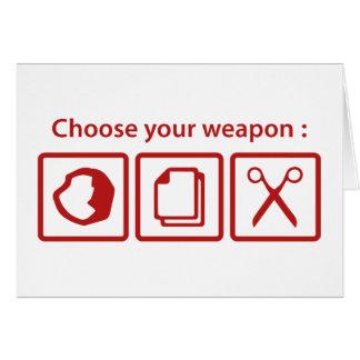 Elija su arma tarjeta de felicitación