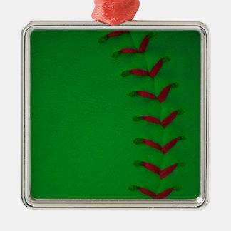 Elija su béisbol del color - softball adorno navideño cuadrado de metal