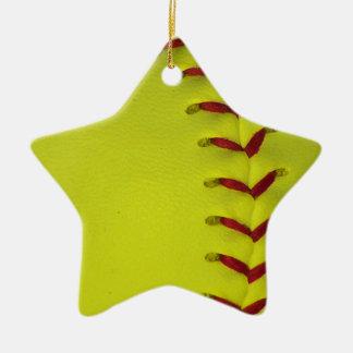 Elija su béisbol del color - softball adorno navideño de cerámica en forma de estrella