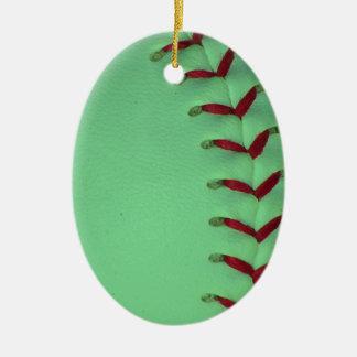 Elija su béisbol del color - softball adorno navideño ovalado de cerámica