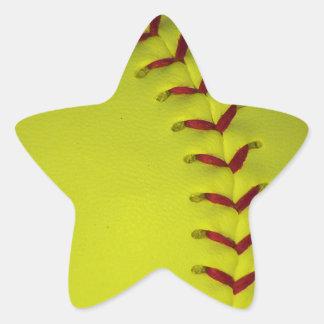Elija su béisbol del color - softball pegatina en forma de estrella